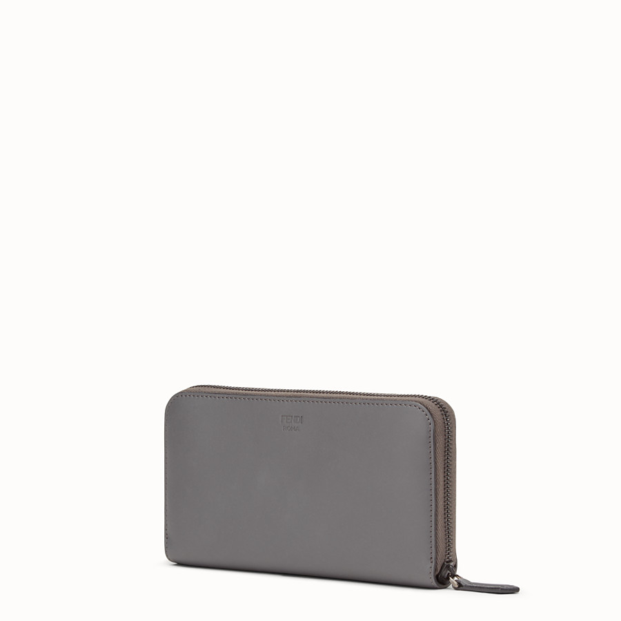 FENDI ZIP AROUND - Zip-around wallet in grey leather with insert - view 2 detail
