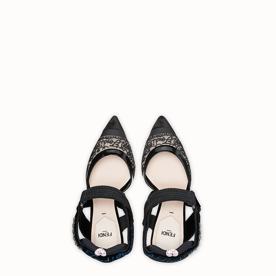 FENDI COURT SHOES - Black velvet slingbacks - view 4 detail