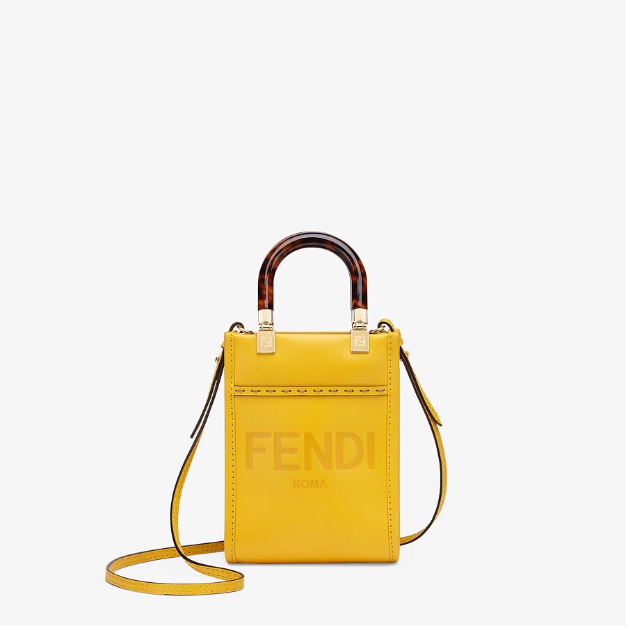 FENDI MINI SUNSHINE SHOPPER - Yellow leather mini-bag - view 1 detail