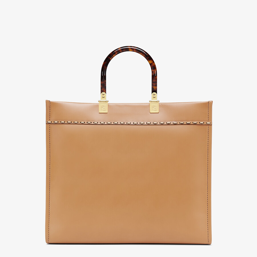 FENDI FENDI SUNSHINE MEDIUM - Light brown leather and elaphe shopper bag - view 3 detail