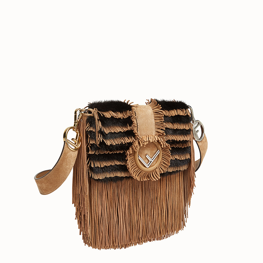 FENDI BAGUETTE - Beige suede and mink bag - view 2 detail