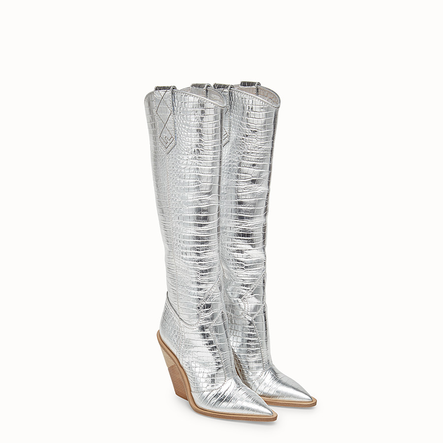 FENDI BOOTS - Silver leather boots - view 4 detail