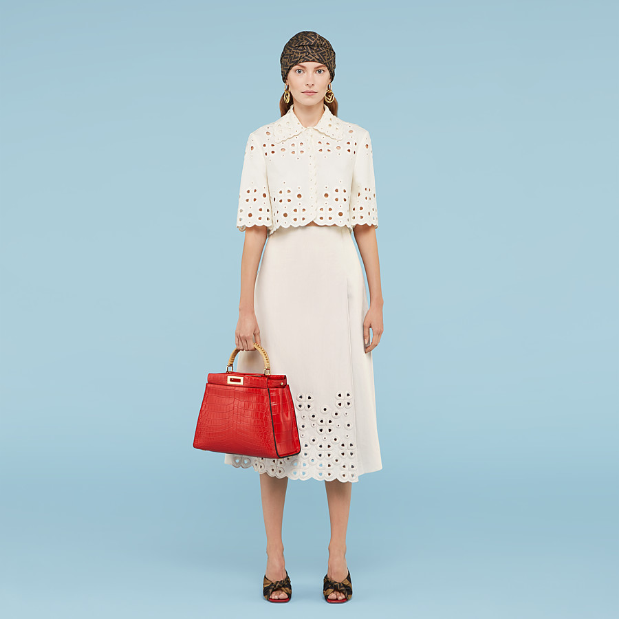 FENDI SKIRT - White taffeta skirt - view 4 detail