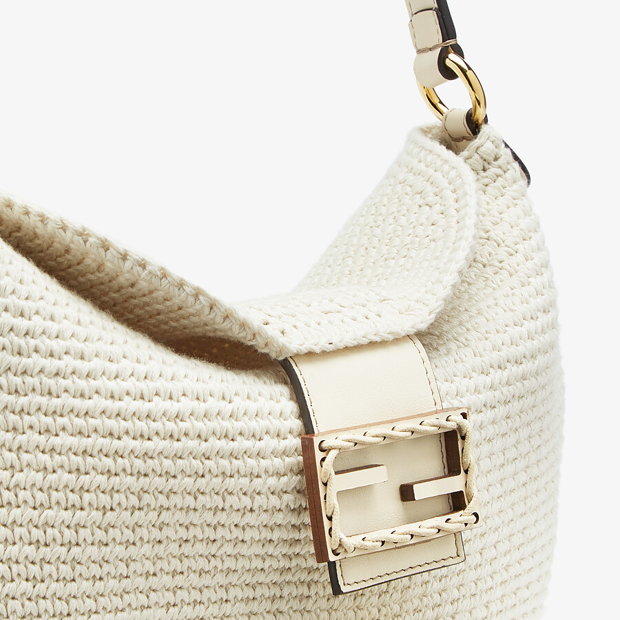 FENDI SMALL CROISSANT - White cotton bag - view 6 detail