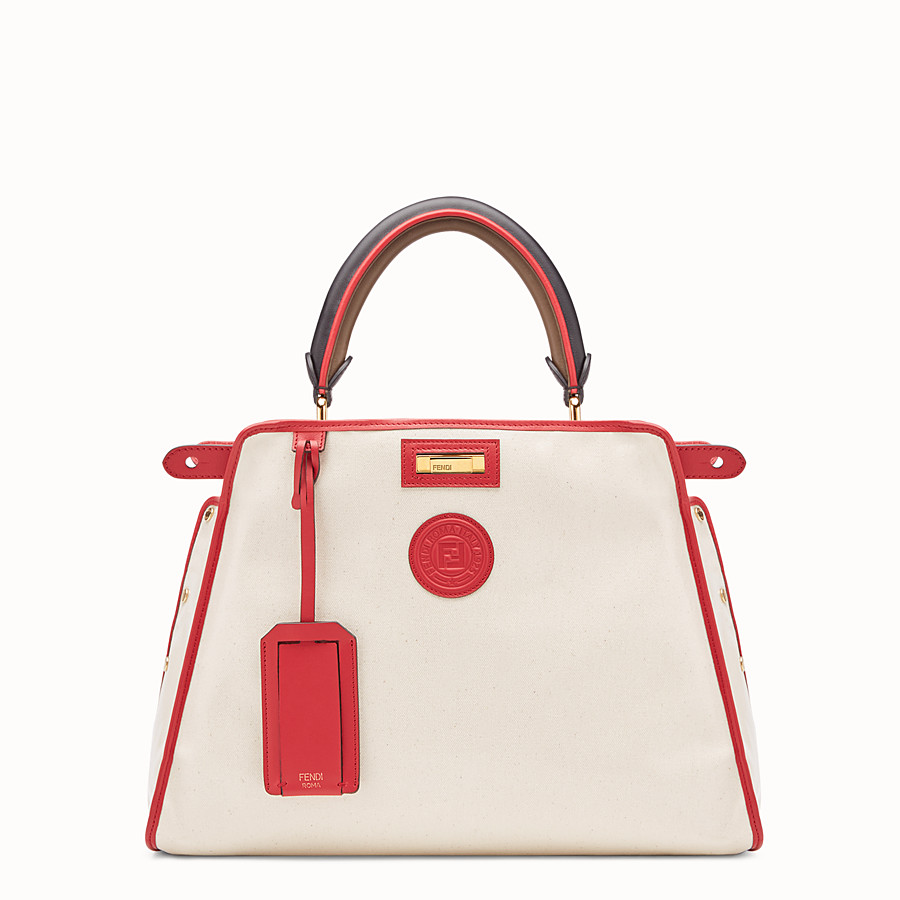 FENDI PEEKABOO DEFENDER - White leather bag with cover - view 1 detail