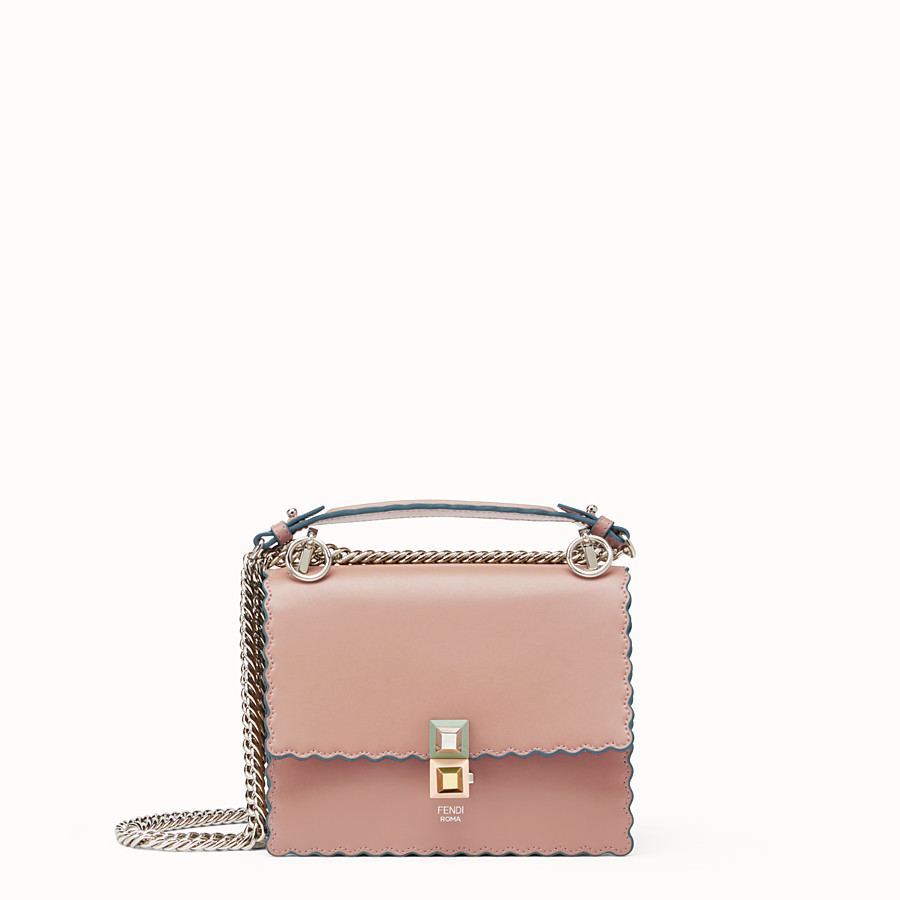 FENDI KAN I SMALL - Pink leather mini-bag - view 1 detail