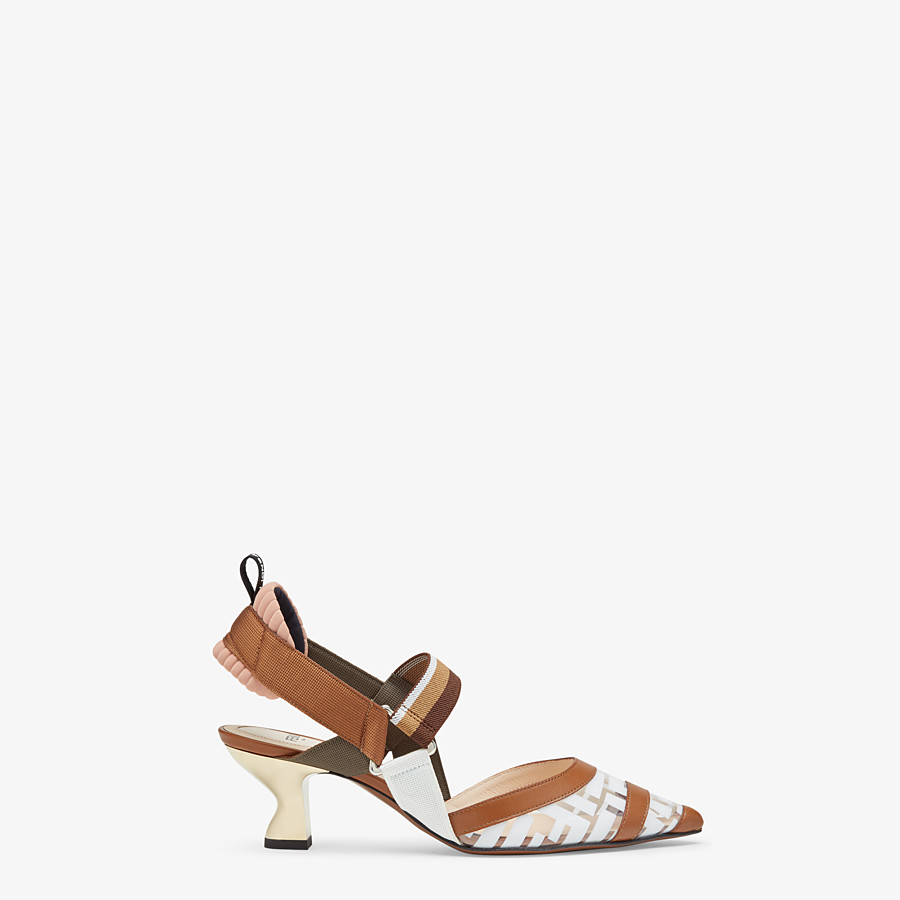 FENDI SLINGBACK - Colibrì in PU and white leather - view 1 detail