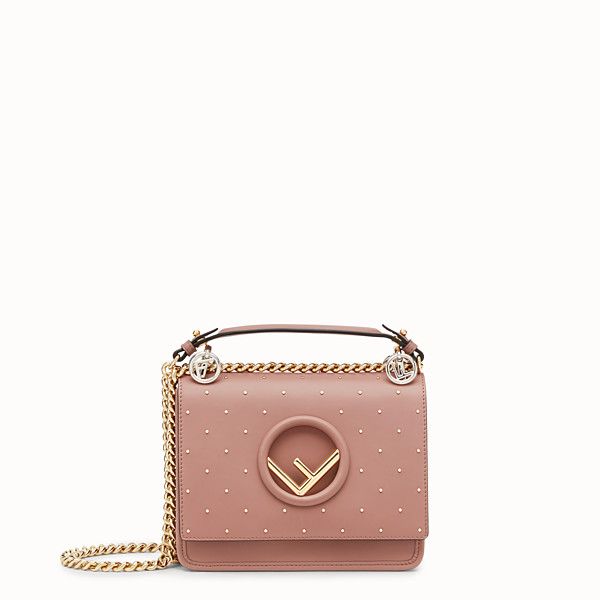 FENDI KAN I F SMALL - Pink leather mini-bag - view 1 small thumbnail