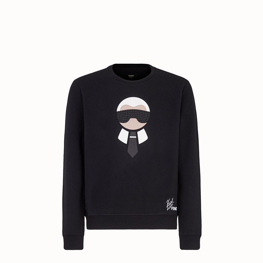 FENDI PULLOVER - Black jersey sweatshirt - view 1 detail