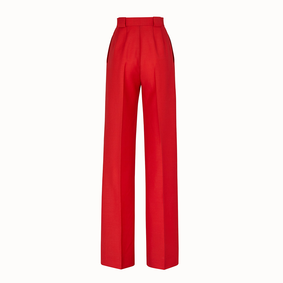 FENDI TROUSERS - Red kid mohair trousers - view 2 detail
