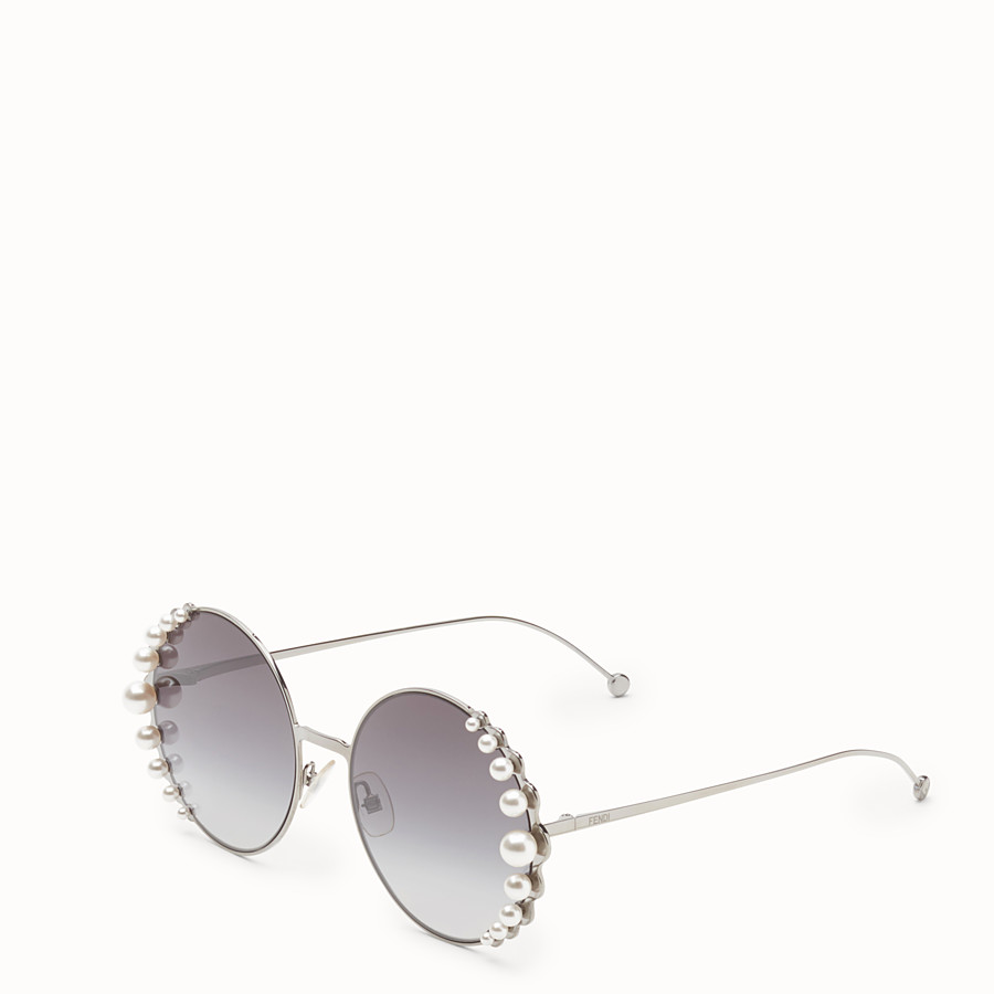 FENDI RIBBONS & PEARLS - Ruthenium-colour sunglasses - view 2 detail