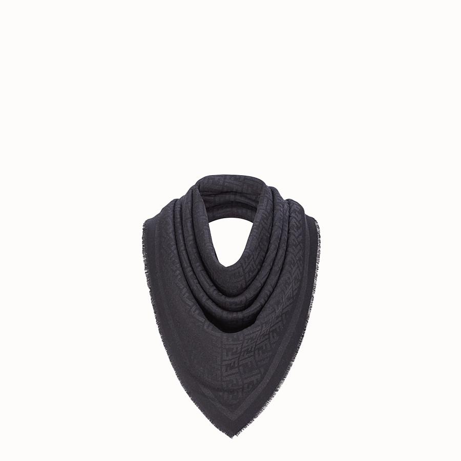 FENDI KEFFIYEH - Black wool scarf - view 1 detail