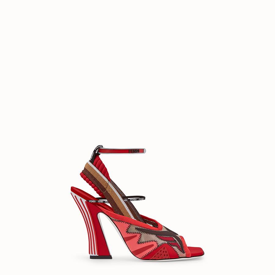 FENDI SANDALS - Red technical mesh sandals - view 1 detail