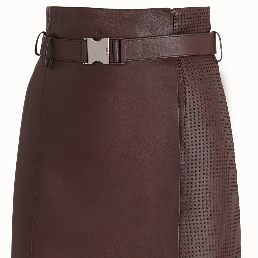 FENDI SKIRT - Brown nappa leather skirt - view 3 detail