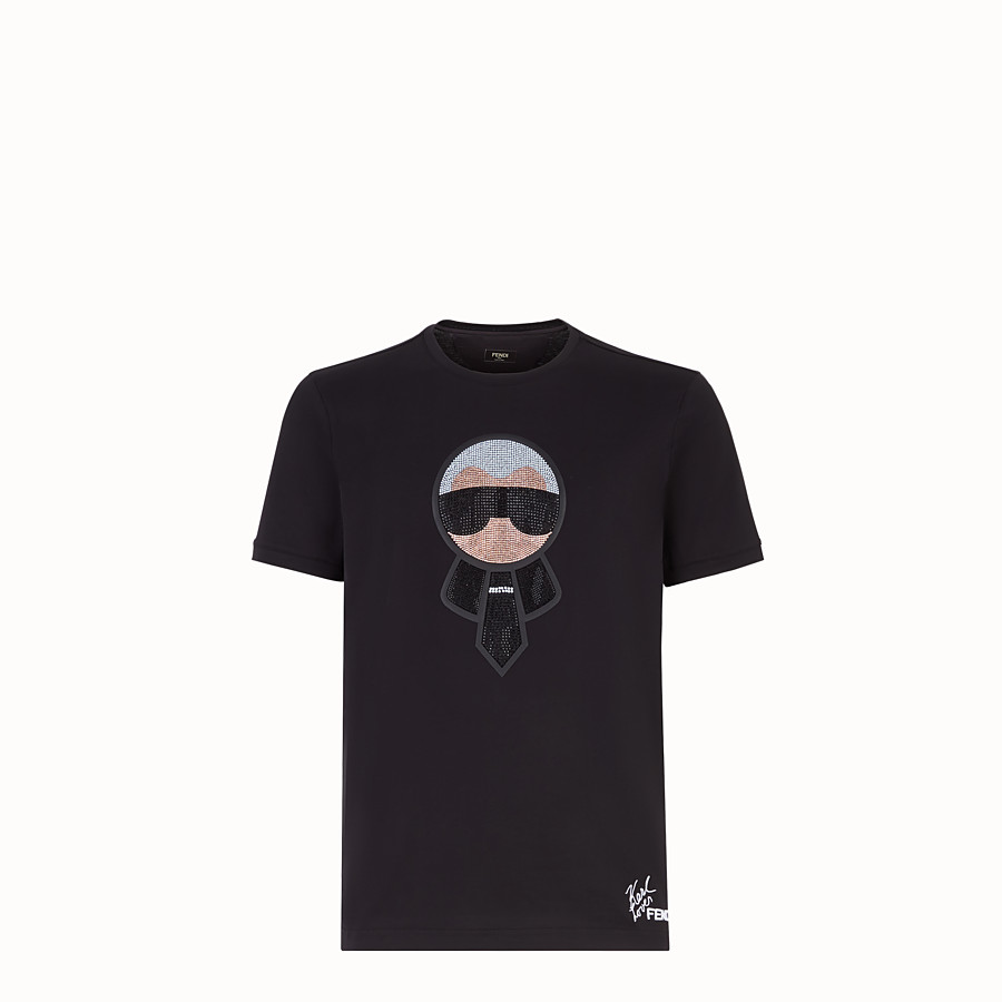 FENDI T-SHIRT - Black jersey T-shirt with crystals - view 1 detail