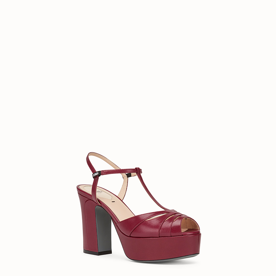 FENDI SANDALS - Red leather sandals - view 2 detail