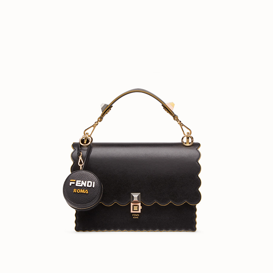 FENDI CHARM TOTE BAG - Black leather charm with fabric tote bag - view 3 detail