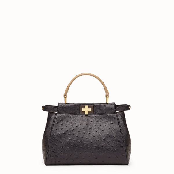 FENDI PEEKABOO MINI - Black ostrich leather bag - view 1 small thumbnail