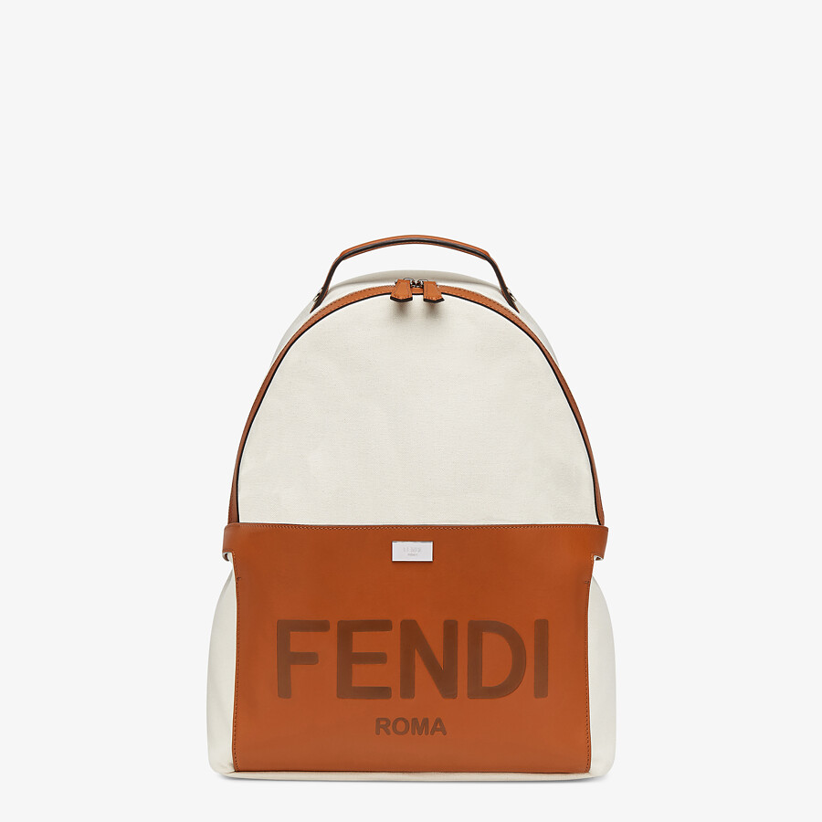 FENDI ESSENTIAL BACKPACK - Undyed canvas backpack - view 2 detail