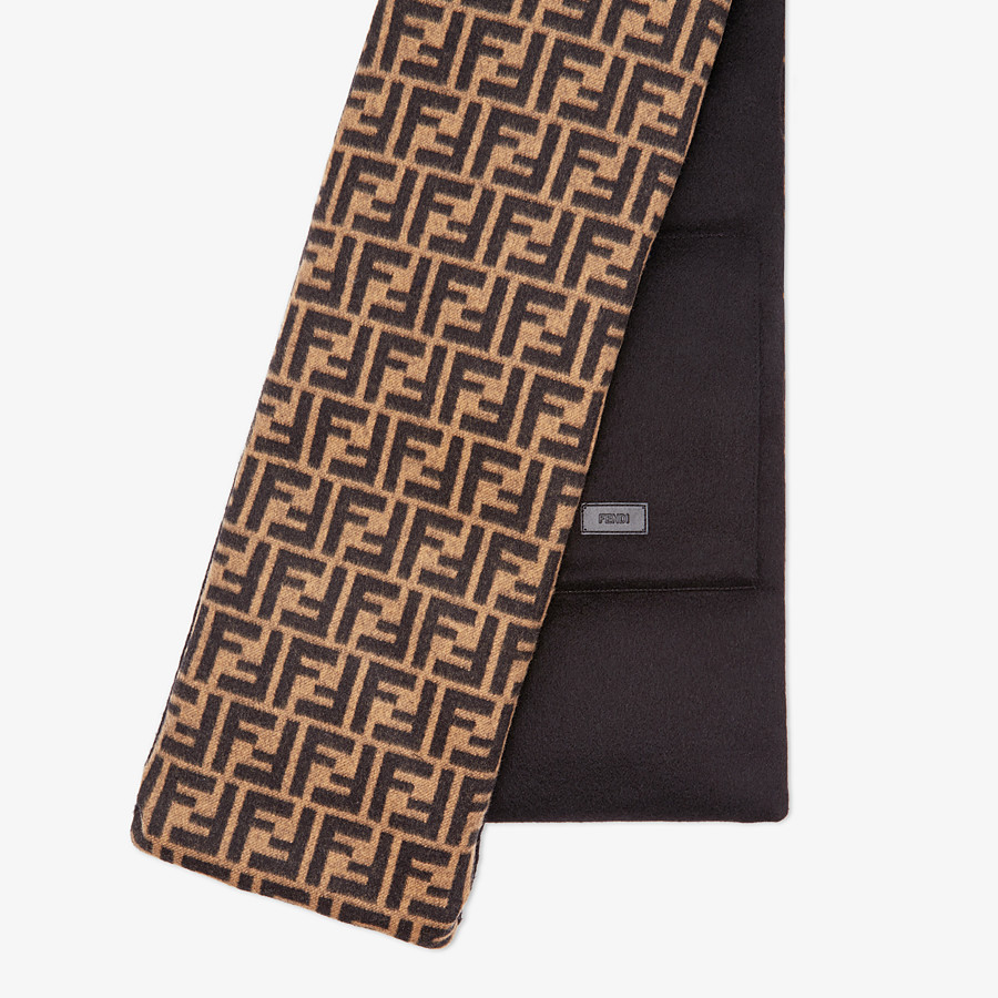 FENDI SCARF - Brown wool and cashmere scarf - view 1 detail