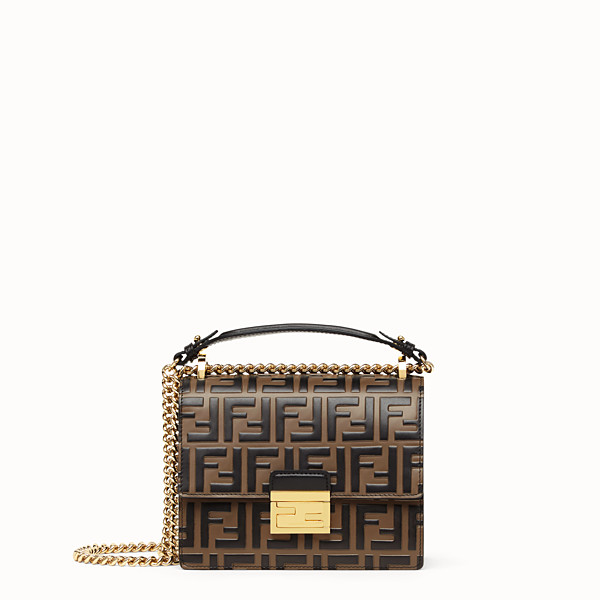 FENDI PETIT Kan U - Mini sac en cuir marron - view 1 small thumbnail
