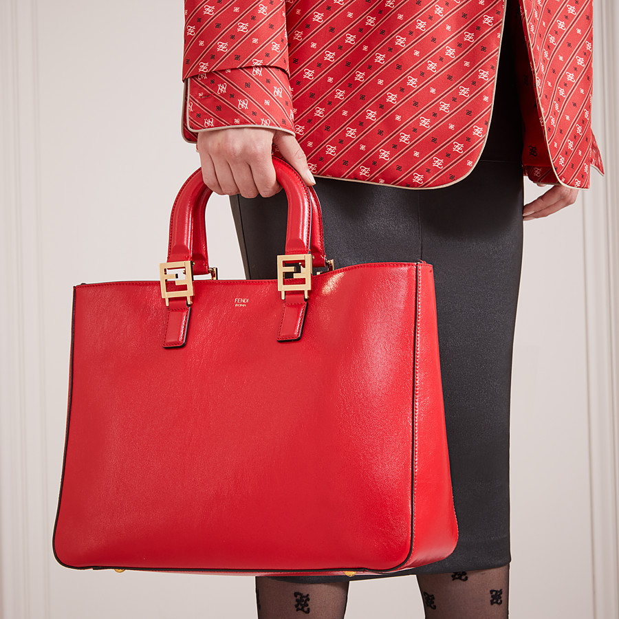 FENDI FF TOTE MEDIUM - Red leather bag - view 2 detail