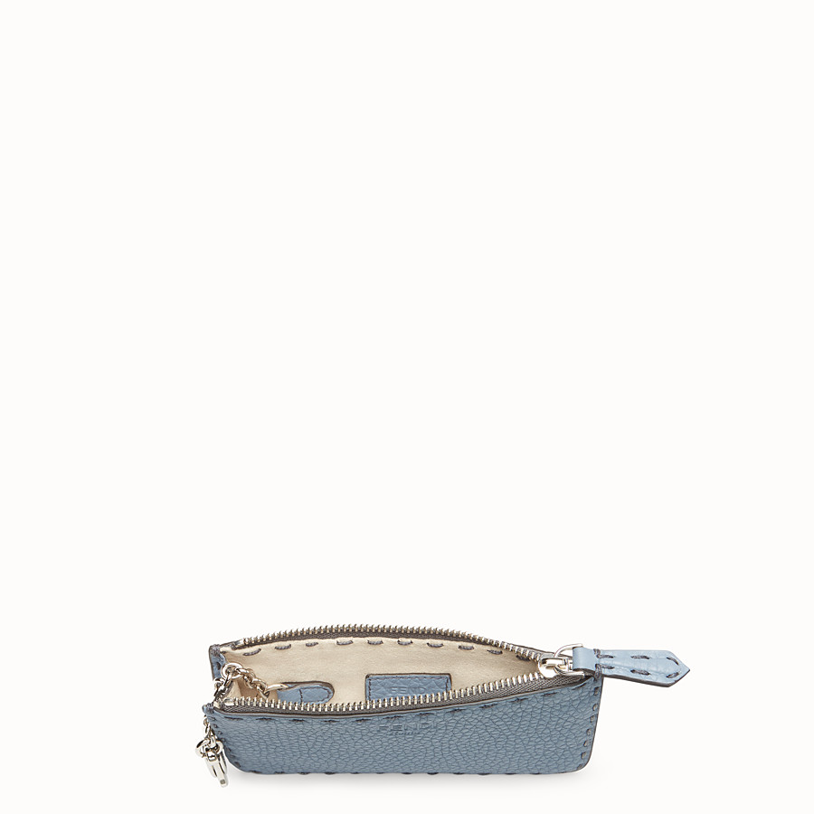 FENDI KEY RING - Pale blue leather pouch - view 4 detail