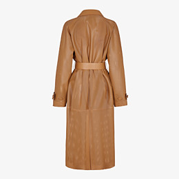 FENDI OVERCOAT - Brown leather trench coat - view 2 thumbnail