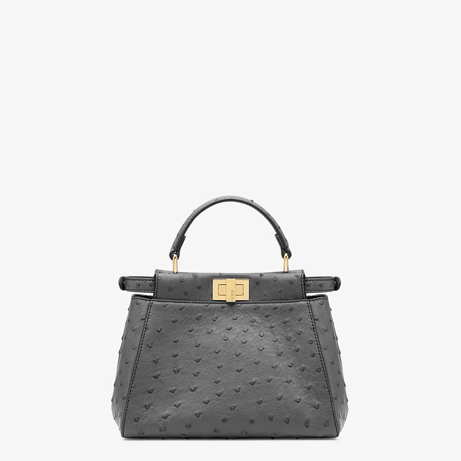 FENDI PEEKABOO ICONIC MINI - Grey ostrich leather handbag - view 3 detail