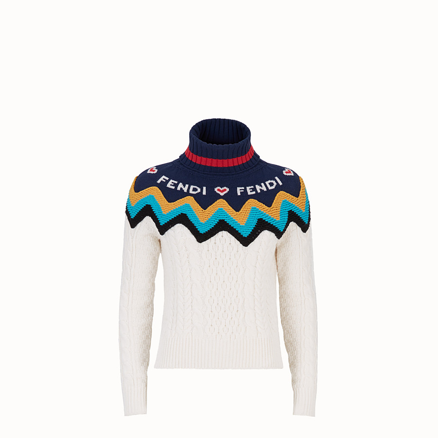 FENDI PULLOVER - Multicolour cashmere jumper - view 1 detail