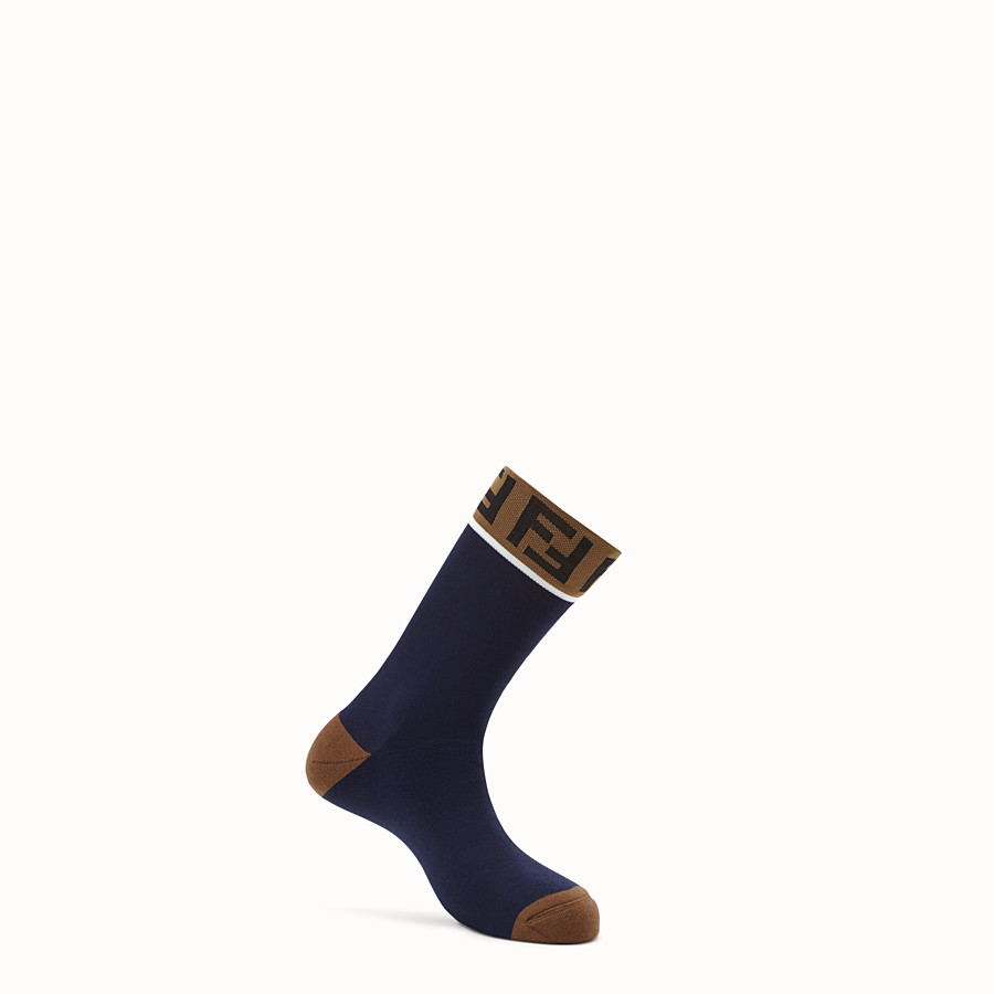 FENDI SOCKS - Blue stretch cotton socks - view 1 detail