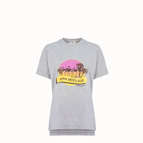 FENDI T-SHIRT - T-shirt en coton gris - view 1 small thumbnail