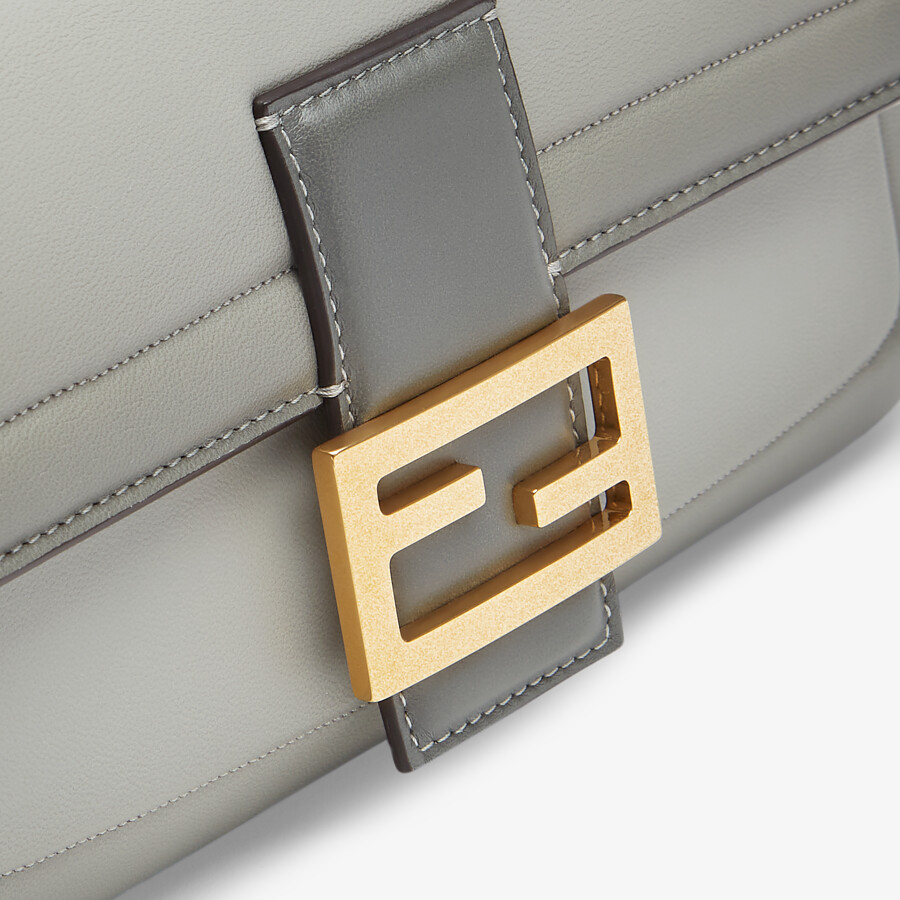 FENDI BAGUETTE CHAIN - gray nappa leather bag - view 5 detail