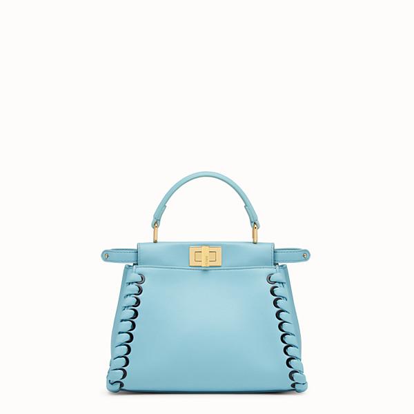 FENDI PEEKABOO MINI - Light blue leather handbag with weaving - view 1 small thumbnail