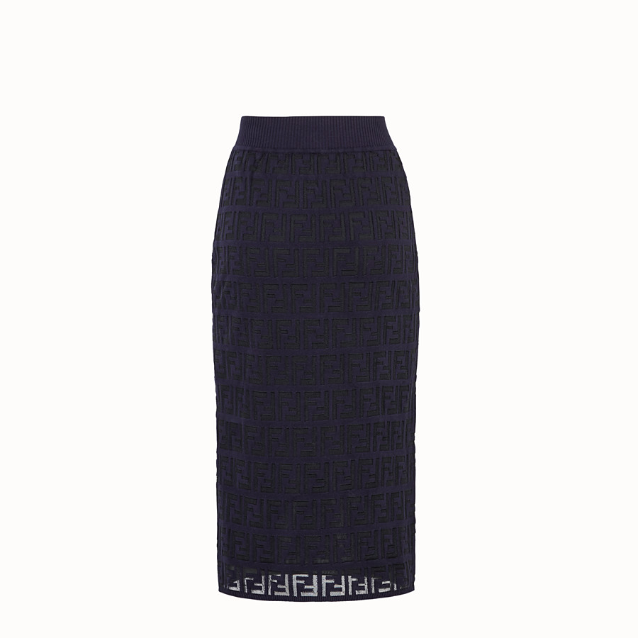 FENDI SKIRT - Blue cotton skirt - view 2 detail