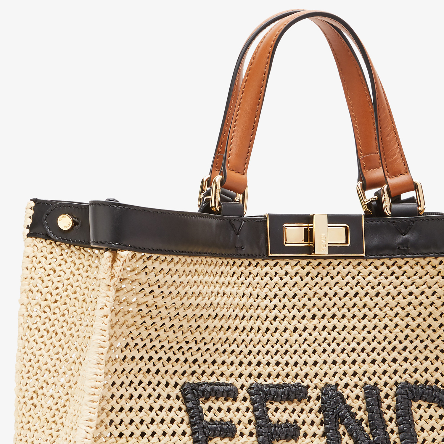FENDI PEEKABOO X-TOTE - Natural raffia bag - view 5 detail