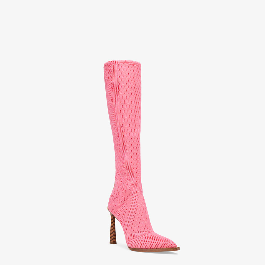FENDI BOOTS - High-tech, pink jacquard boots - view 2 detail