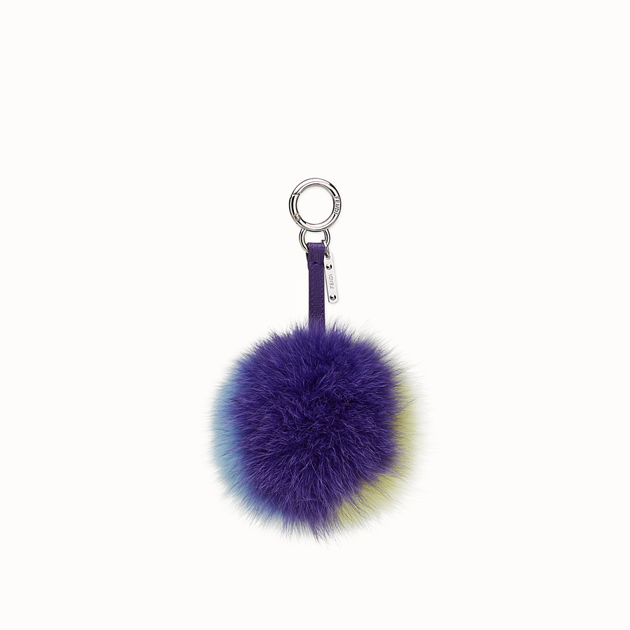 FENDI POMPOM CHARM - in purple, blue and yellow fox fur - view 1 detail