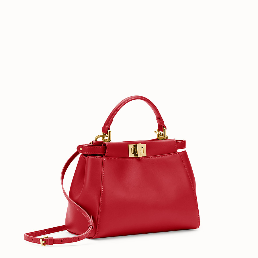 FENDI PEEKABOO ICONIC MINI - Tasche aus Leder in Rot - view 2 detail