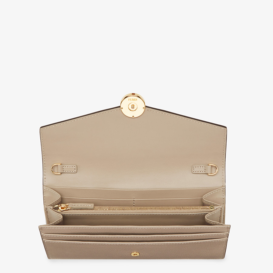 FENDI CONTINENTAL WITH CHAIN - Beige leather wallet - view 4 detail