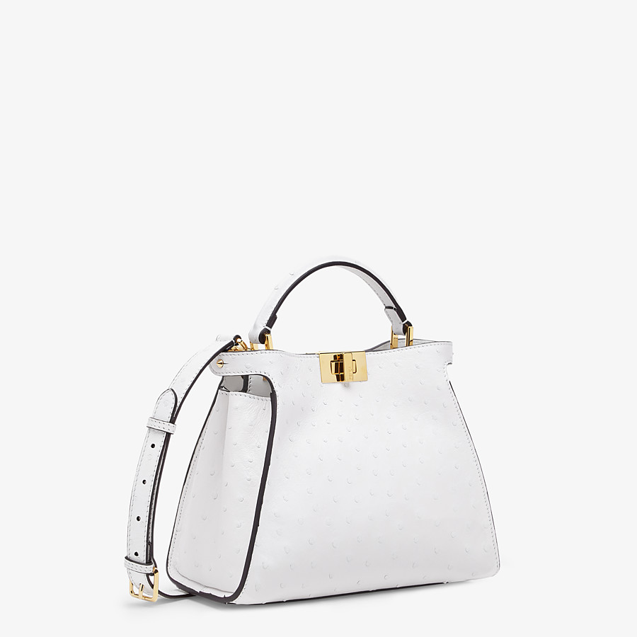 FENDI PEEKABOO ICONIC ESSENTIALLY - White ostrich leather bag - view 2 detail