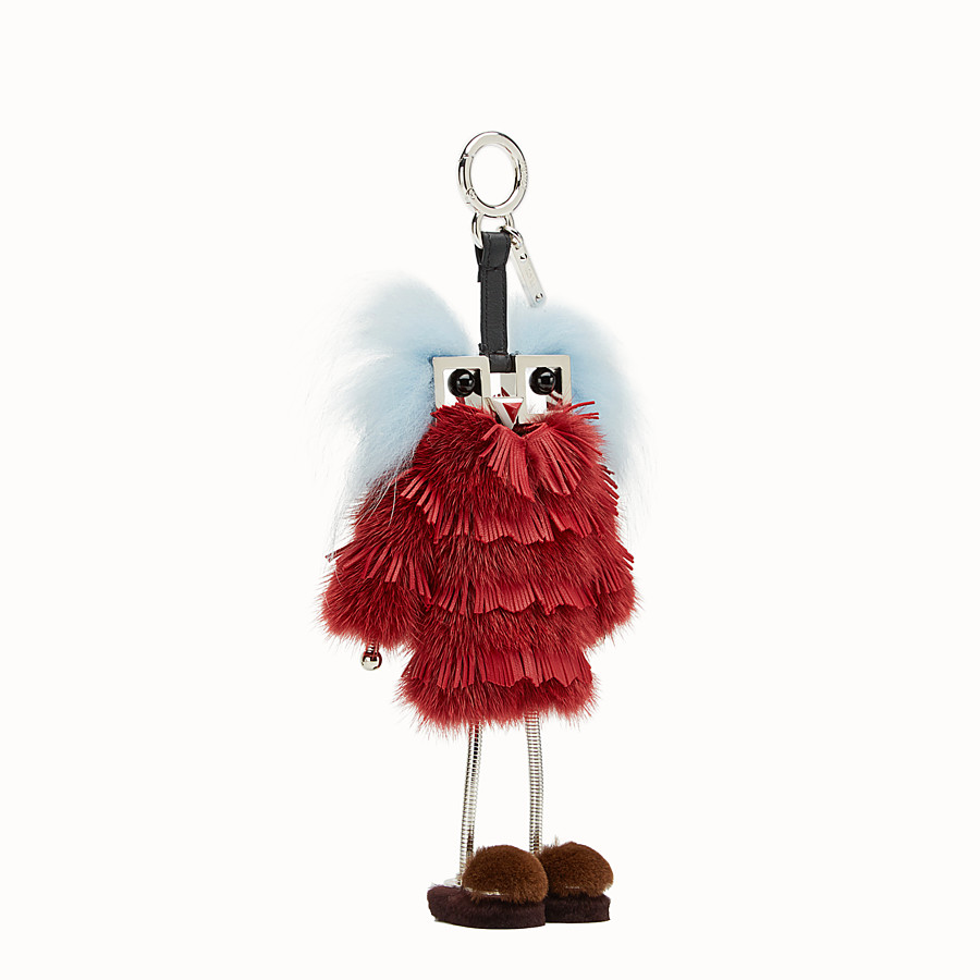 FENDI FENDI WITCHES CHARM - Red leather and mink charm - view 1 detail