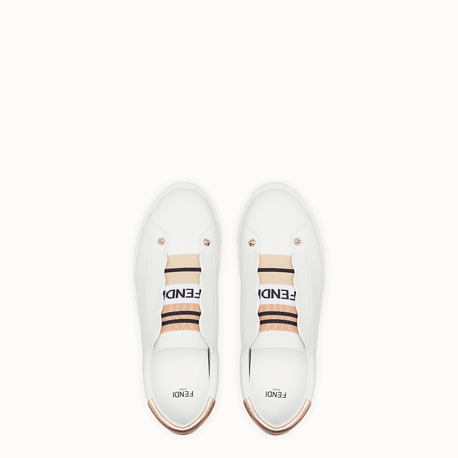 FENDI SNEAKERS - Chaussures sans lacets en cuir blanc - view 4 detail