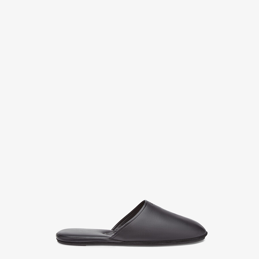 FENDI SLIPPERS - Black nappa leather mules - view 1 detail