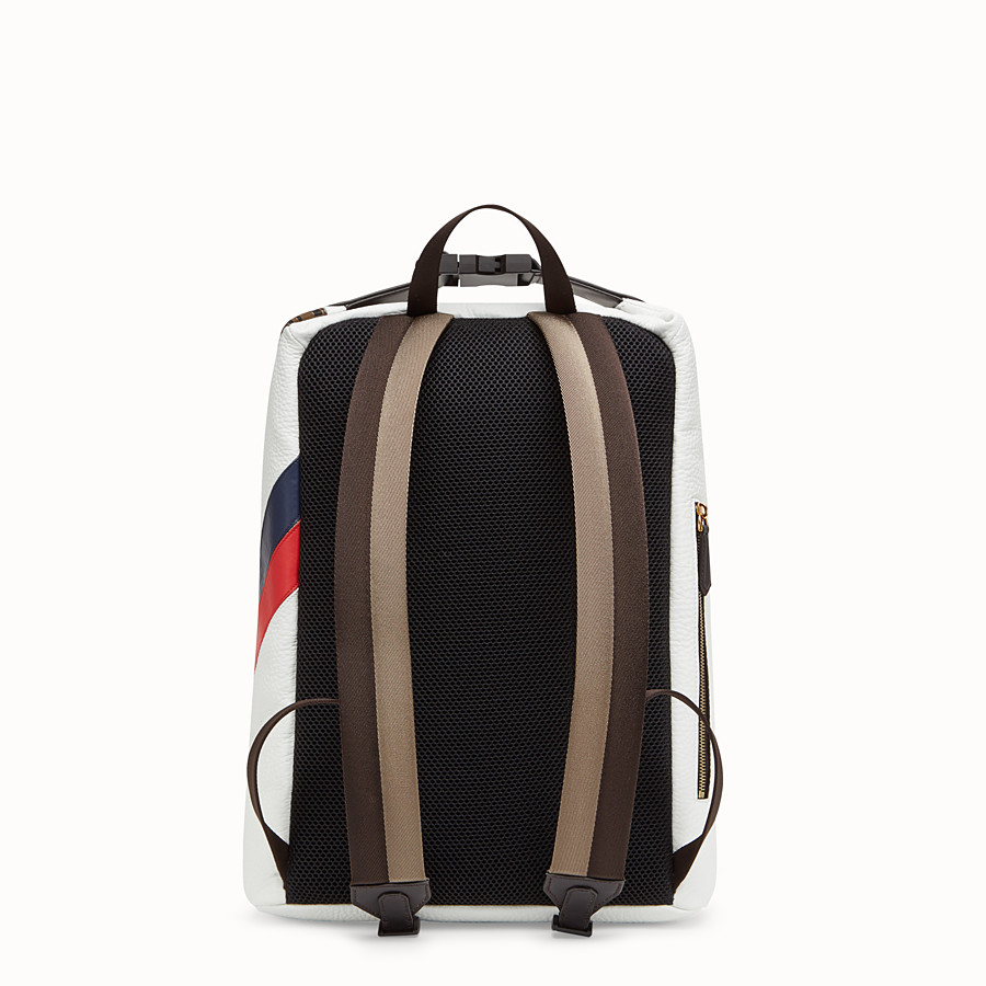 FENDI BACKPACK - White leather backpack. - view 3 detail