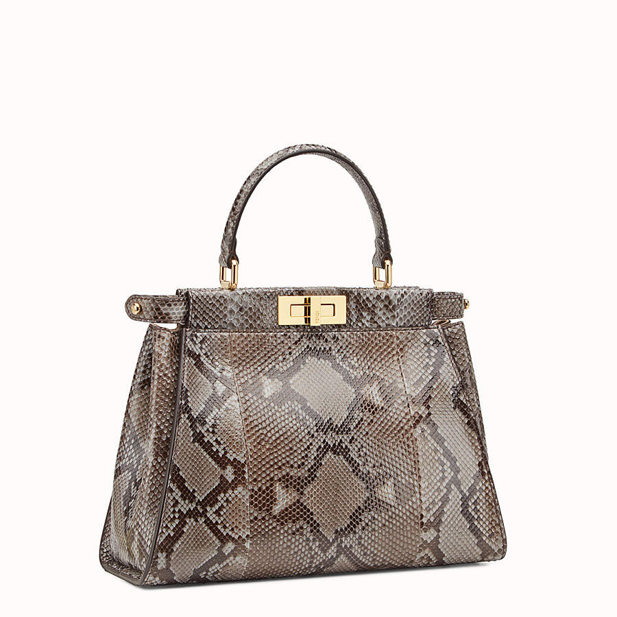 FENDI PEEKABOO REGULAR - Grey python handbag. - view 2 detail
