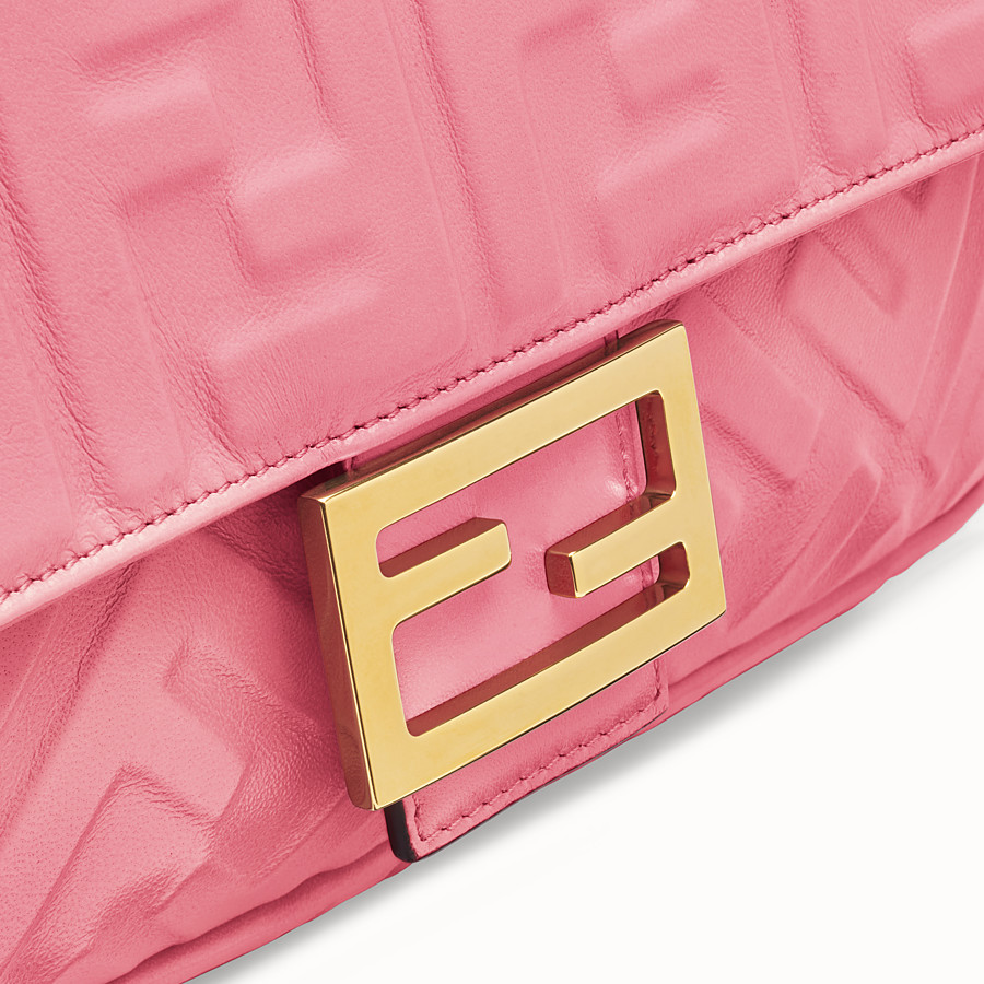 FENDI BAGUETTE - Pink leather bag - view 5 detail