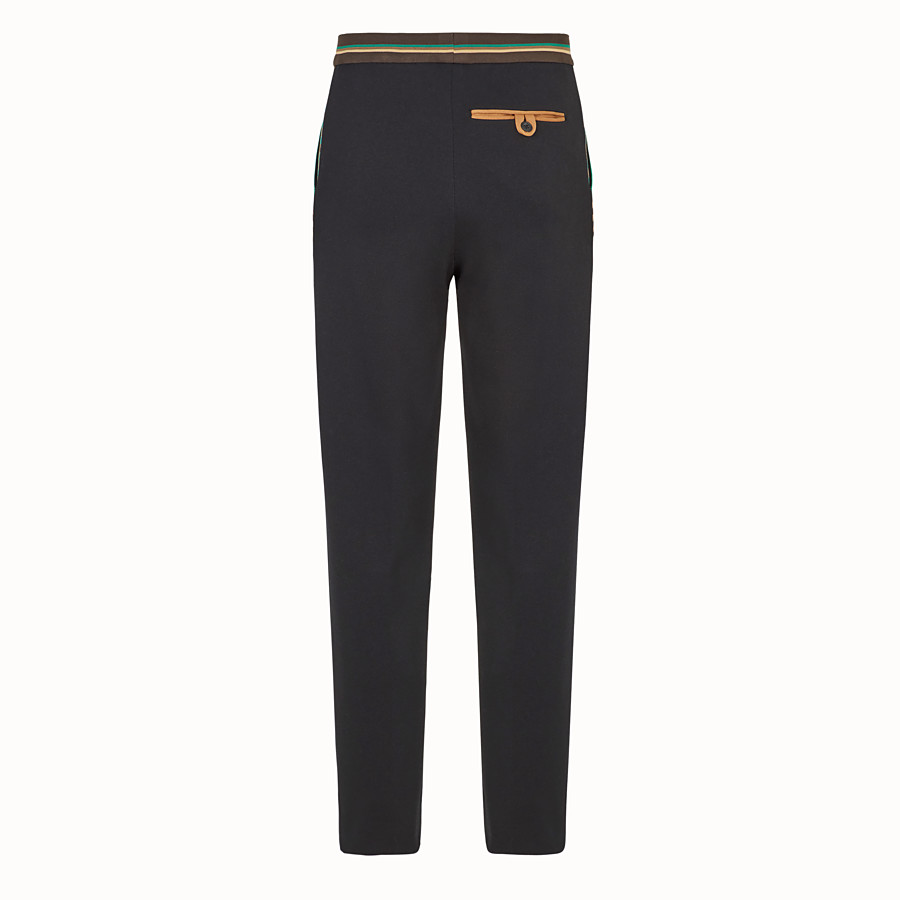 FENDI TROUSERS - Black cotton jersey trousers - view 2 detail