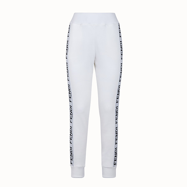 FENDI TROUSERS - White jersey jogging trousers - view 1 small thumbnail
