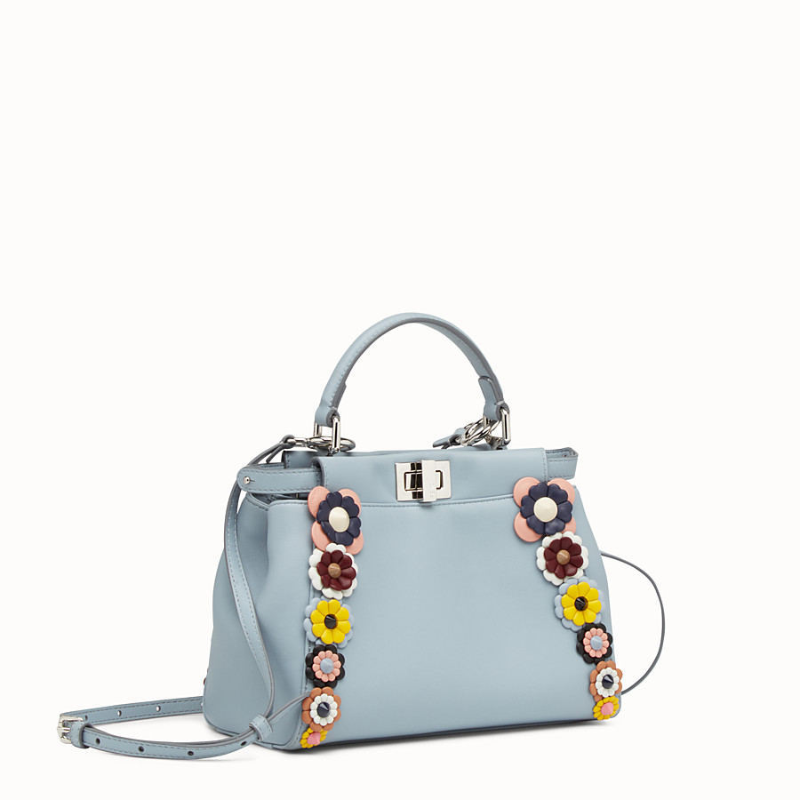 FENDI PEEKABOO MINI - Light blue nappa handbag with flowers - view 2 detail